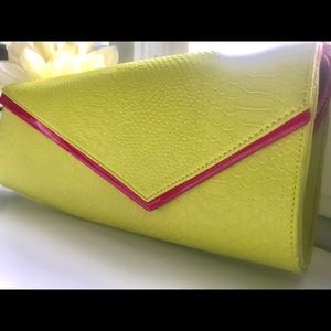 Neon Yellow/Green and Pink Bebe Clutch